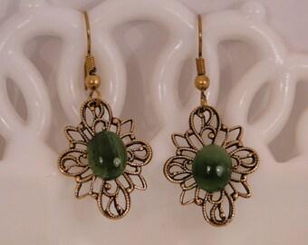 Delicate Green Jade Gemstone Antique Gold Filigree Earrings