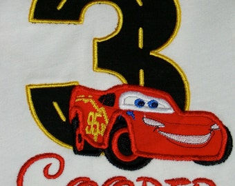 Lightening McQueen or Tow Mater Applique Birthday Number Tee Shirt with Custom monogrammed name