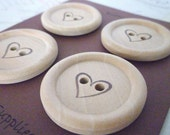 Wooden Buttons - Stamped Heart Collection - 35mm