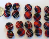 NEW UNUSED Vintage Stock Plaid Tartan Fabric Covered Buttons, 10 Ten Pair, Red, Black, Yellow, Green +