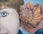 Shell Phone, Beach Decor, Portrait Painting, Wall Decor, Original Painting, Large Painting