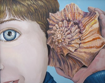 Shell Phone, Boy Painting, Beach Decor, Shell Painting, Wall Decor, Original Painting, Large Painting