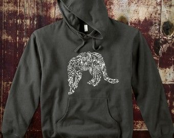 Organic Cotton  Gray Hoodie with Catamount.