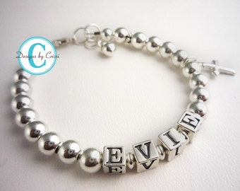 Name bracelet for girls with sterling silver charm