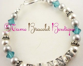 Blue Zircon or any color Mother Bracelet with child/childrens names. Silver and crystal. Grandma bracelet.