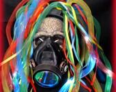Steampunk goggles LED light dread cyberlock goth RAVE cyber club face gas mask respirator