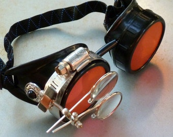 Steampunk Goggles Airship Captain Apocalyptic Mad Scientist Victorian Limited SSS-black