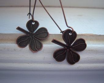 "Shamrock  Earrings - Four Leaf Clover - Lucky -Ireland - Saint Patrick""s Day Earrings"