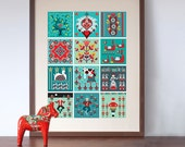 12 Days of Christmas Folk style art print
