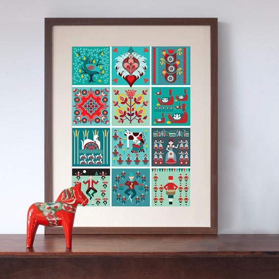 Retro Kitchen Shelves Art Print By Natalie Singh: 12 Days Of Christmas Folk Style Art Print