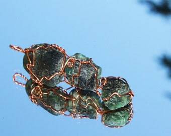 Three Emerald Nuggets Wire Wrapped in Copper