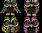 SWEET ARTDECO OWLS - 20 Machine Embroidery Design Pack (AzEB)