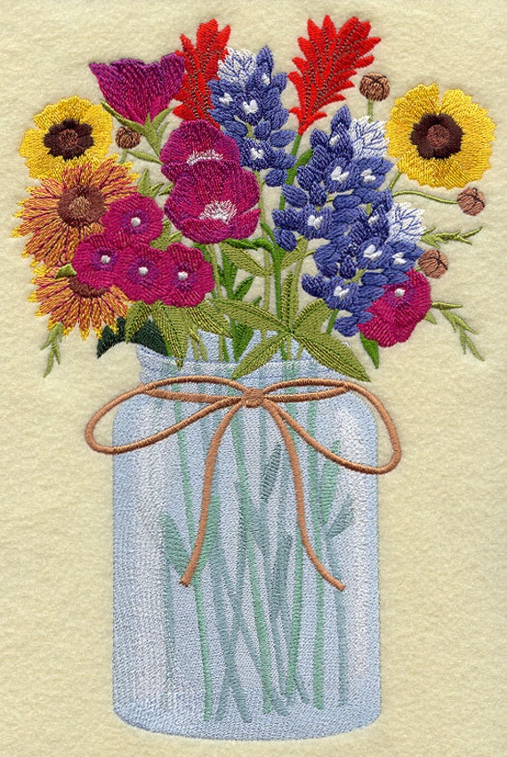 TEXAS WILDFLOWERS In A Mason Jar Machine Embroidered Quilt