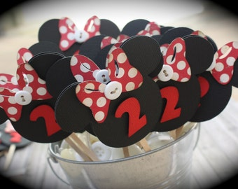 MINNIE Mouse Cupcake Toppers...set of 6