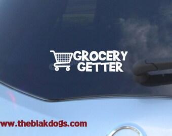 Grocery Getter - Shopping Cart Vinyl Sticker Car Decal