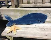 Nautical Sign Vintage Style Whale  3 Colors available Nursery Coastal and Beach Decor