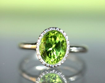 Peridot Sterling Silver Ring, Gemstone Ring,  Milgrain Details In No Nickel / Nickel Free - Made To Order