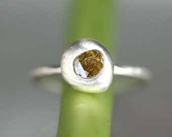 Yellowish Brown Rose Cut Diamond Sterling Silver Ring, Gemstone Ring, Eco Friendly, Stacking Ring, No Nickel - Ship In The Next 9 Days