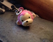 Sad Pink Monkey Bell Charm for Cell Phone, Zipper or Keychain