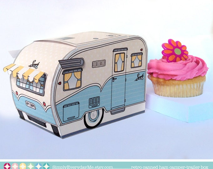 1950s RV Camper Trailer box, Caravan Box, cupcake box, gift card box, gift favor box - Instant Download D.I.Y. Printable PDF Kit