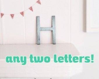 TWO cast iron letters - industrial modern font - cottage home decor - You Choose Colors