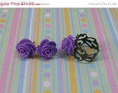 SUMMER Adjustable Antique Brass Purple Rose Cabochon Ring With Matching Post Earrings