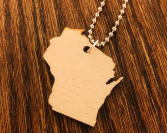 Wooden Wisconsin Necklace, State Pride Jewelry in Birch Wood