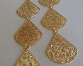 Triple Threat Gold (handmade filigree statement earrings)