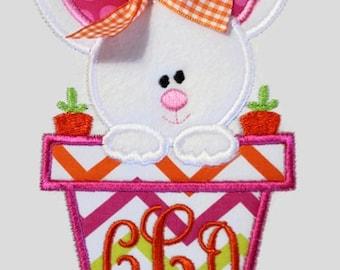 Bunny Flower Pot Machine Embroidery Applique Design