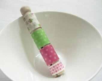 Washi Deco Tape Sampler Stack- Green Pink Dot Garden   - Fab 4 yds