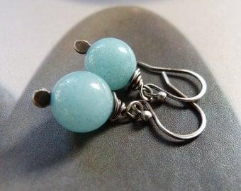 Blue jade sterling silver earrings, wire wrapped earrings, natural jewelry, dangle earrings