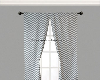 Gray Curtain Panels Zig Zag Chevron Curtains Drapery Window Treatments Set Pair Stripe Gray Drapes