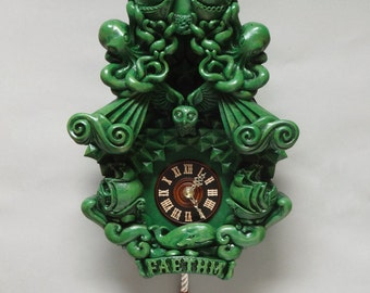 Cuckoo Clock wall clock art sculpture kelly green forest green - Faethm Cuckoo by Marisol Spoon