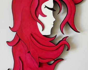 The Pink Girl Woodcut. Original handmade piece - Wood Sculpture Wall Hanging