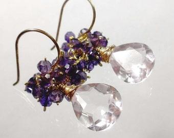 Purple Amethyst Earrings, Amethyst Cluster Earrings, Amethyst Jewelry, Morganite Quartz Earrings Sale