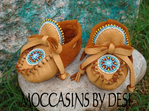 Baby Moccasins By Desi, Beaded, Soft deerskin leather, beaded Rosette