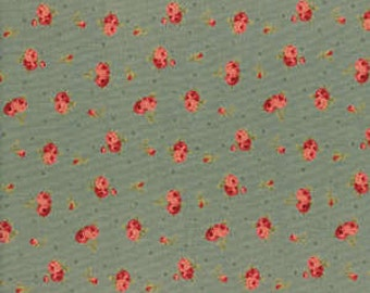 Antique Rose  by Lecien  Small Pink Roses on Blue   30754-70 Cotton Fabric