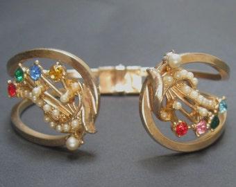 Vintage Rhinestone Bracelet Hinged Floral Sprays