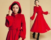 Red Wool Swing Coat - Maxi Long coat Winter Hooded Coat Button Front Single Breasted Coat  (394)