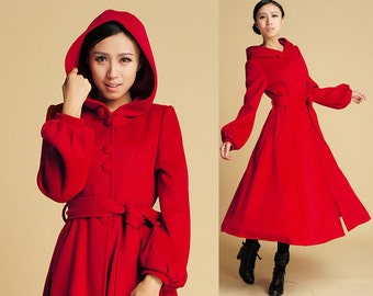 Red Wool coat, Swing Coat, hooded coat, maxi coat, long coat, Winter coat, Hooded trench Coat, Single Breasted Coat, long jacket, Gift (394)