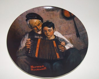 Norman Rockwell Collectible Plates Vintage Music Maker Accordion Knowles China