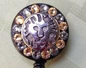 ID Badge Reel - The Lion - Decorated ID Badge Retractable Lanyard Reel - Nurse Gift - Teacher Gift - Beaded ID Lanyard -