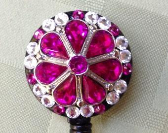 Security Badge Reel - Petal Pink - Decorated ID Badge Retractable Lanyard Reel - Nurse Gift - Co Worker Gift - Name Badge Holder - ID Clip