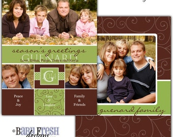 Instant Download - Photoshop PSD layered Templates for Photographers - Holiday card - Guenard family design