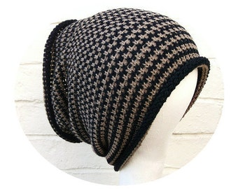 Stripey dreadlock tube hat, hair wrap, dread band, custom made in any colour, size LONG.