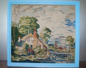Vintage Framed Needlepoint - Fiber Art - Cottage Scene - Cottage Chic