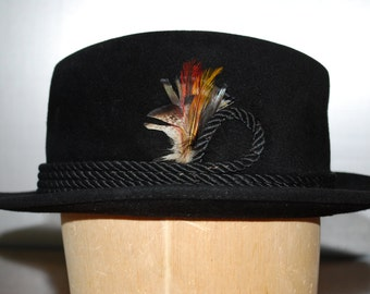 Vintage Black Felt Fedora Hat - by Foreman and Clark - 1980's - Hipster