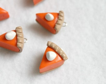 Polymer Clay Pumpkin Pie Charms, Set of 6 Charms