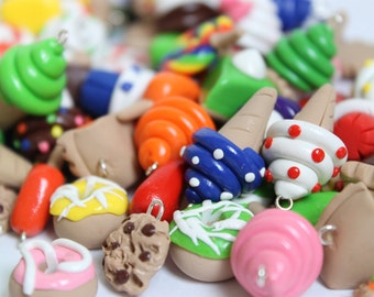 40 Polymer Clay Food Charms, Assorted Food Charms, Craft Supply, Jewelry Supply