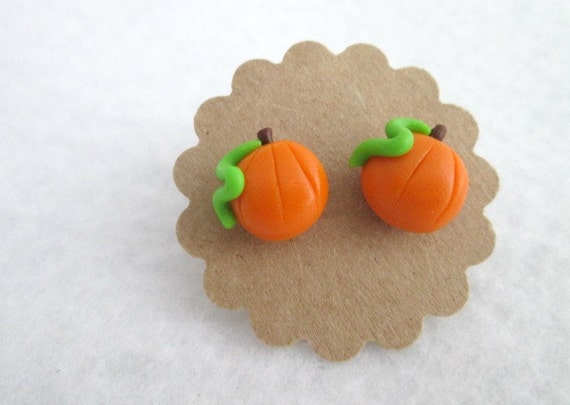 Tiny Pumpkin Earrings, Polymer Clay